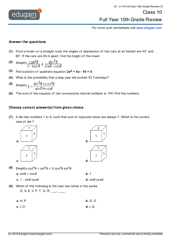 Printables 10th Grade Science Worksheets maths worksheets for grade 10 icse contents full year 10th review