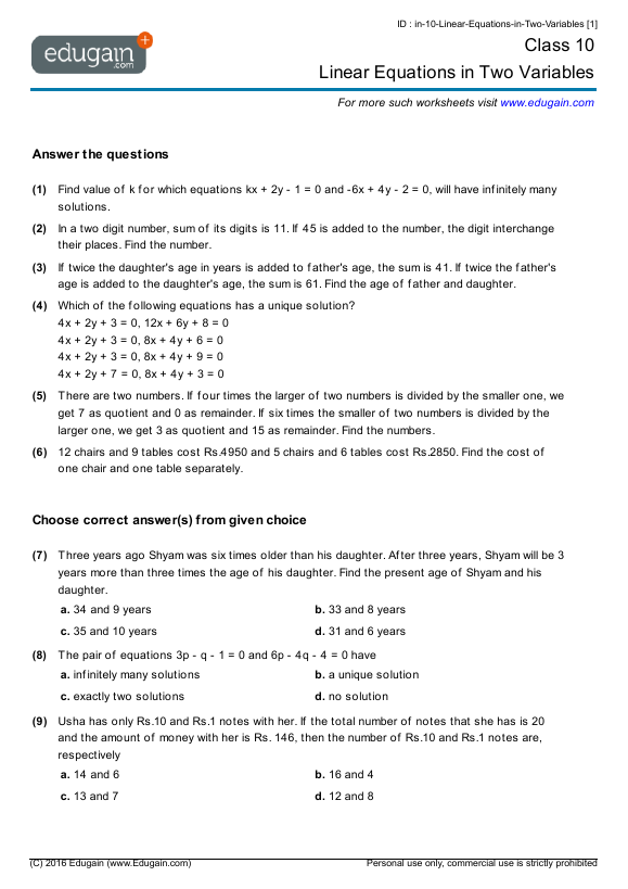 Class 10 Math Worksheets and Problems Linear Equations in Two – Linear Equation Worksheets