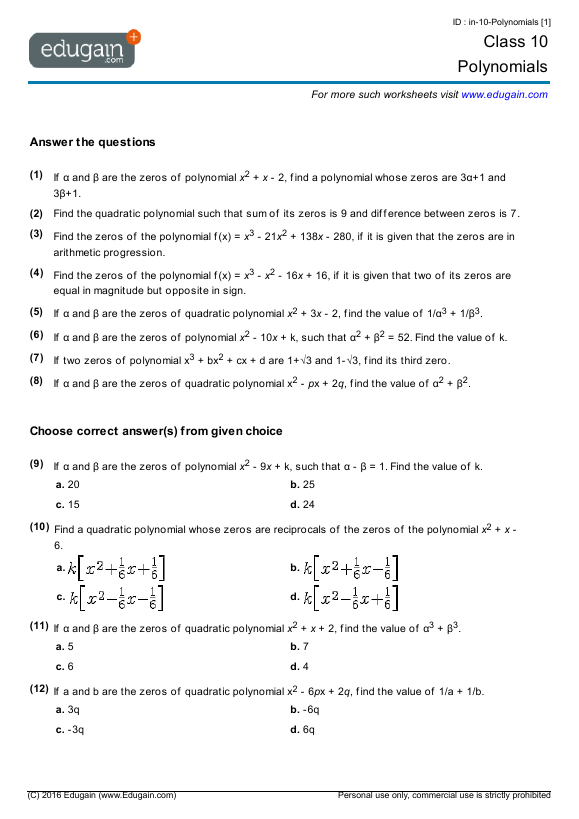 Class 10 Math Worksheets and Problems Polynomials – Maths Worksheets for Class 7