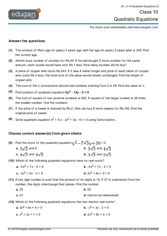Class 10 Math Worksheets and Problems: Quadratic Equations ...