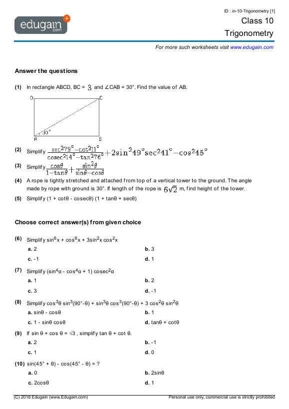 Class 10 Math Worksheets and Problems Trigonometry – Simplifying Trig Identities Worksheet