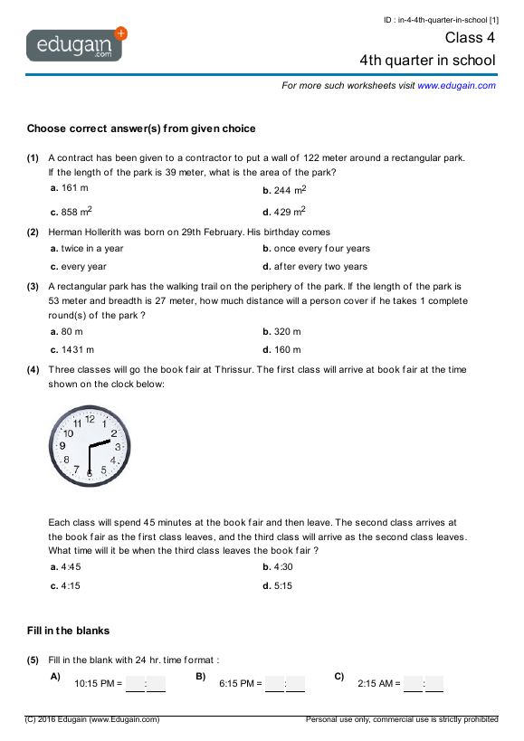Cbse Maths Syllabus For Class 4 maths olympiad 2012 class 11 – Worksheets for Class 4 Maths