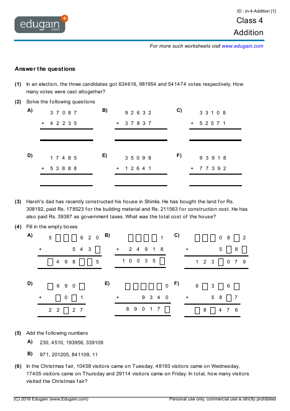math worksheet : class 4 math worksheets and problems addition  edugain india : Addition Worksheets For Grade 4