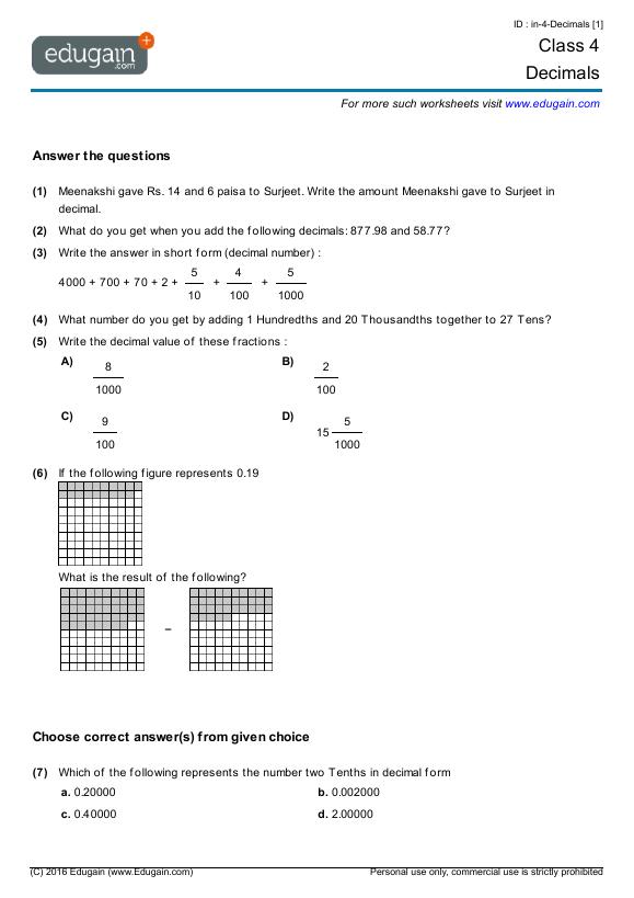 math worksheet : class 4 math worksheets and problems decimals  edugain india : Maths Worksheet For Class 4