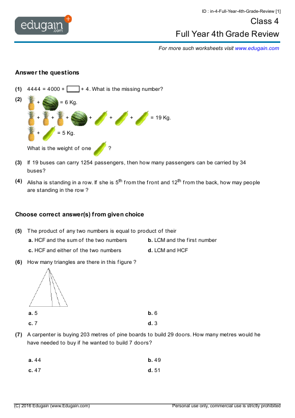 math worksheet : class 4 math worksheets and problems full year 4th grade review  : Class 4 Maths Worksheets