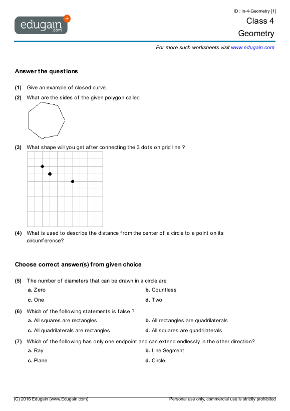 Class 4 Math Worksheets and Problems Geometry – Grade 4 Math Geometry Worksheets