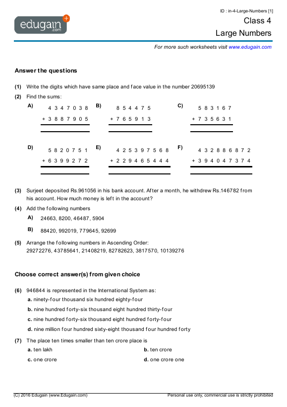 Class 4 Math Worksheets and Problems Large Numbers – The Number System Worksheet