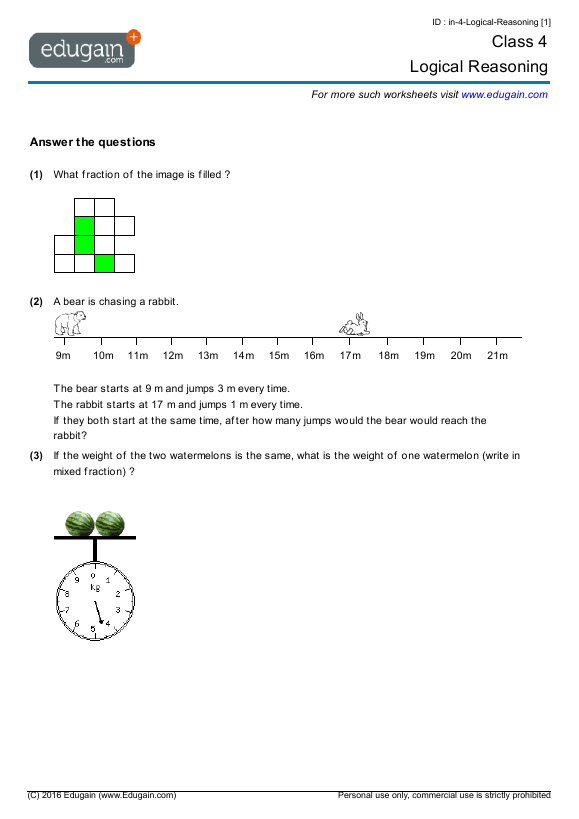 math worksheet : class 4 math worksheets and problems logical reasoning  edugain  : Class 4 Maths Worksheets