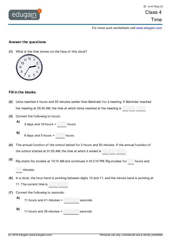 Class 4 Math Worksheets and Problems Time – Worksheets for Class 4 Maths