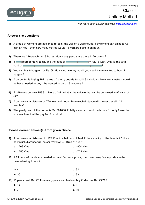 Class 4 Math Worksheets and Problems: Unitary Method | Edugain India