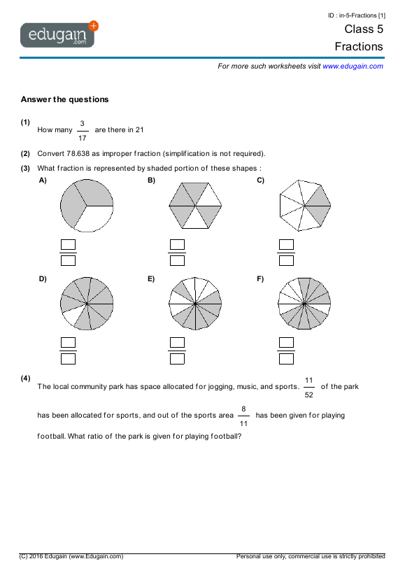 Class 5 Math Worksheets and Problems Fractions – Worksheet on Fractions for Grade 5