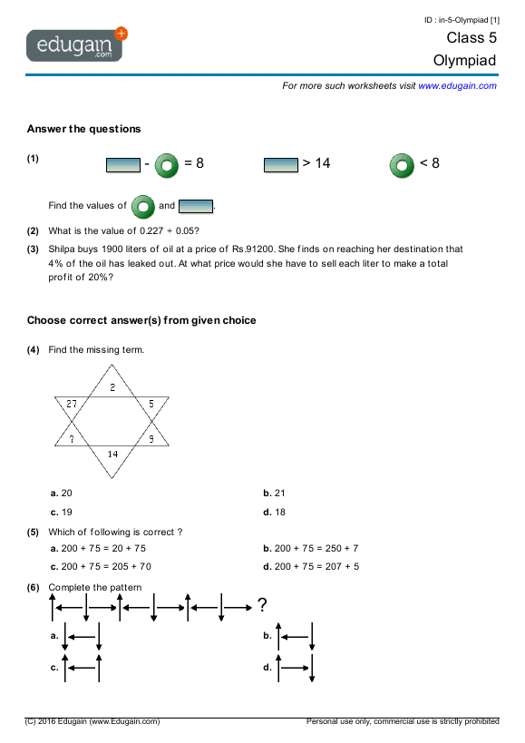 Class 5 Olympiad Printable Worksheets Online Practice Online – Class 5 Maths Worksheets