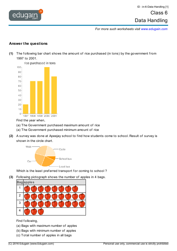Class 6 Math Worksheets and Problems Data Handling – Maths Data Handling Worksheets