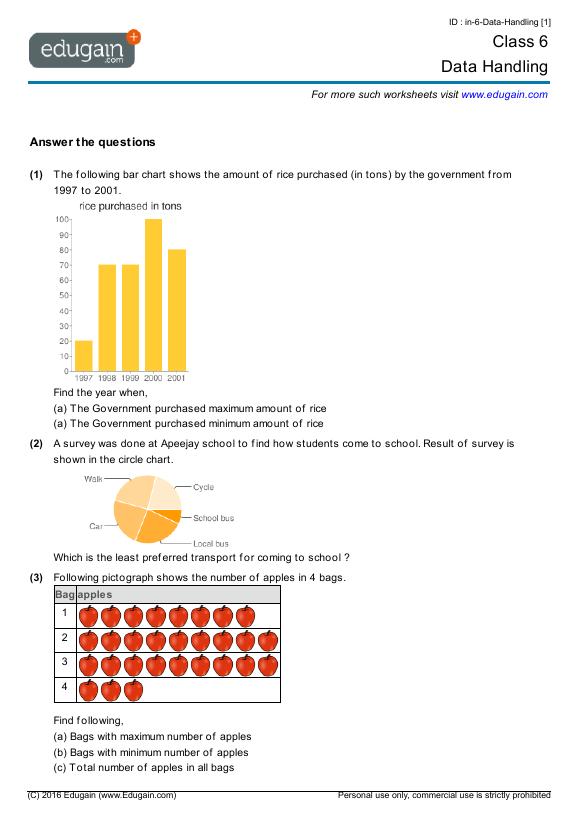 math worksheet : class 6 math worksheets and problems data handling  edugain india : Maths Data Handling Worksheets