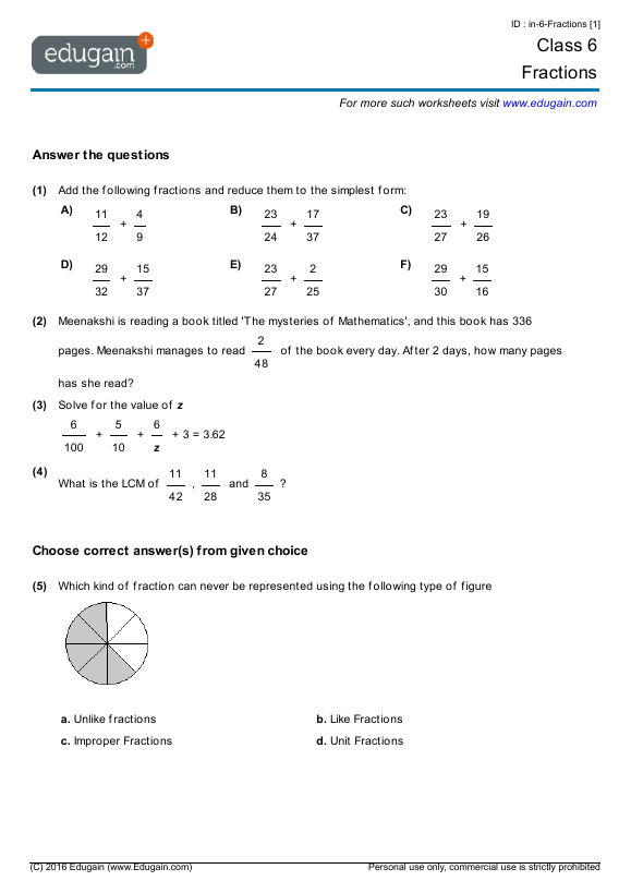 Class 6 Math Worksheets and Problems: Fractions | Edugain India