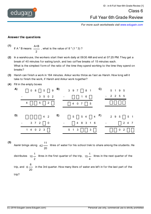 math worksheet : class 6 math worksheets and problems full year 6th grade review  : 6 Grade Math Worksheet