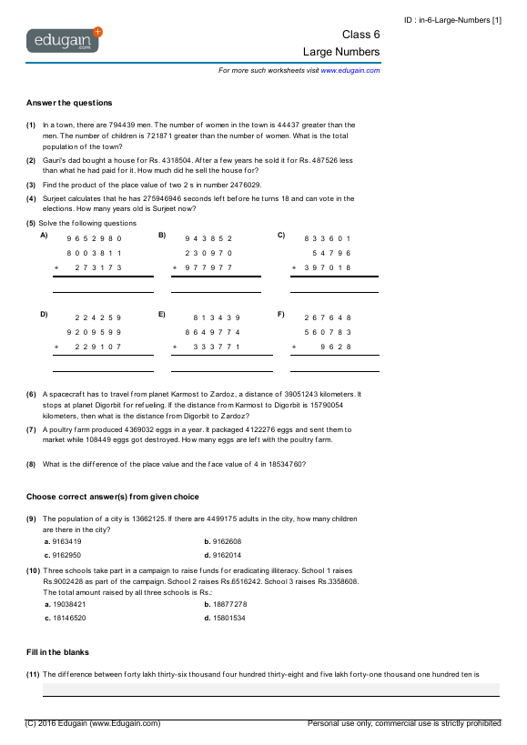 math worksheet : class 6 math worksheets and problems large numbers  edugain india : Cbse Class 6 Maths Worksheets