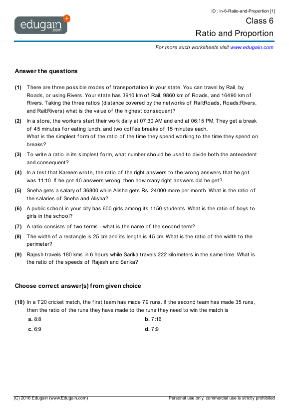 Class 6 Math Worksheets and Problems Ratio and Proportion – Maths Worksheets for Class 8
