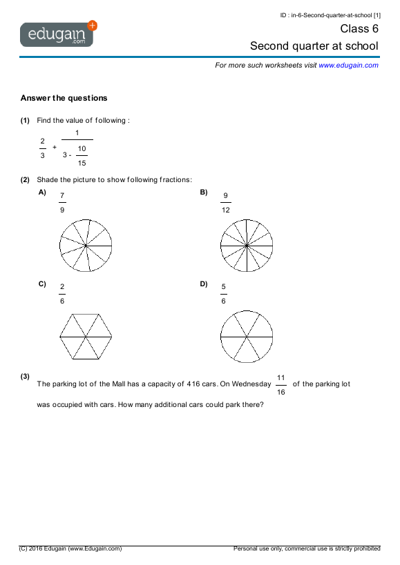 Class 6 Math Worksheets and Problems Second quarter at school – Maths Worksheet for Class 6