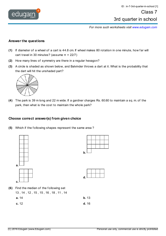 Workbooks Class 7 Worksheets Printable Worksheets Guide for – Maths Worksheets for Class 7
