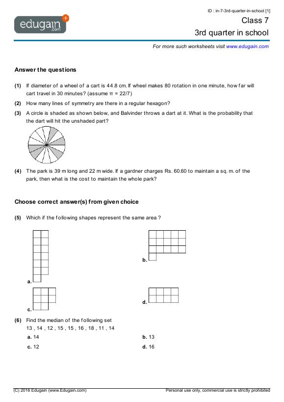 Maths Worksheet For Class 4 Icse icse 5th std maths worksheet – 5th Std Maths Worksheet