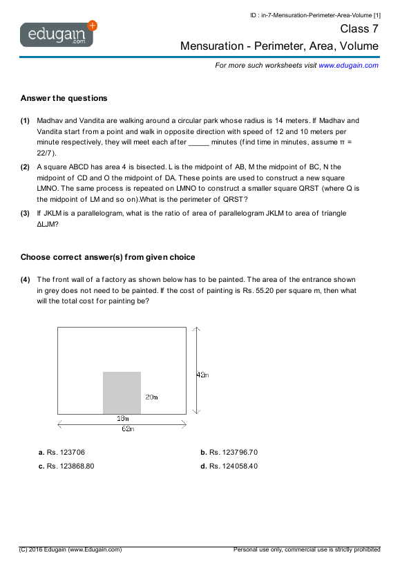 Class 7 Math Worksheets and Problems: Mensuration - Perimeter, Area ...