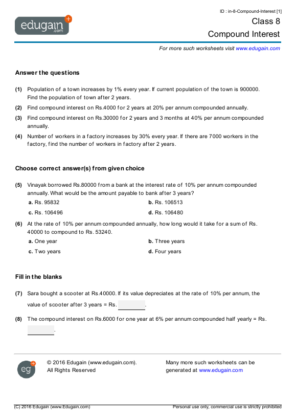 Worksheets Word Problems Of Compound Interest Viii class 8 math worksheets and problems compound interest edugain sample pdf worksheet interest