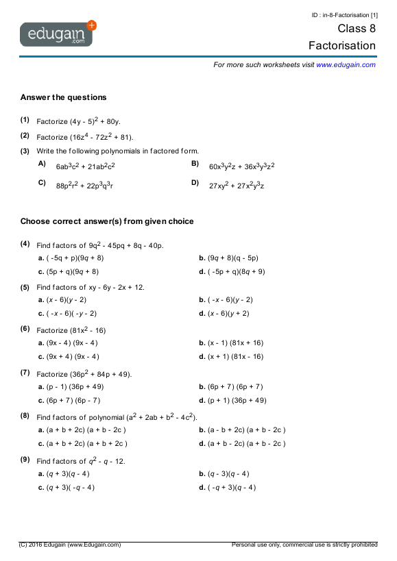 Class 8 Math Worksheets and Problems Factorisation – Math 8 Worksheets