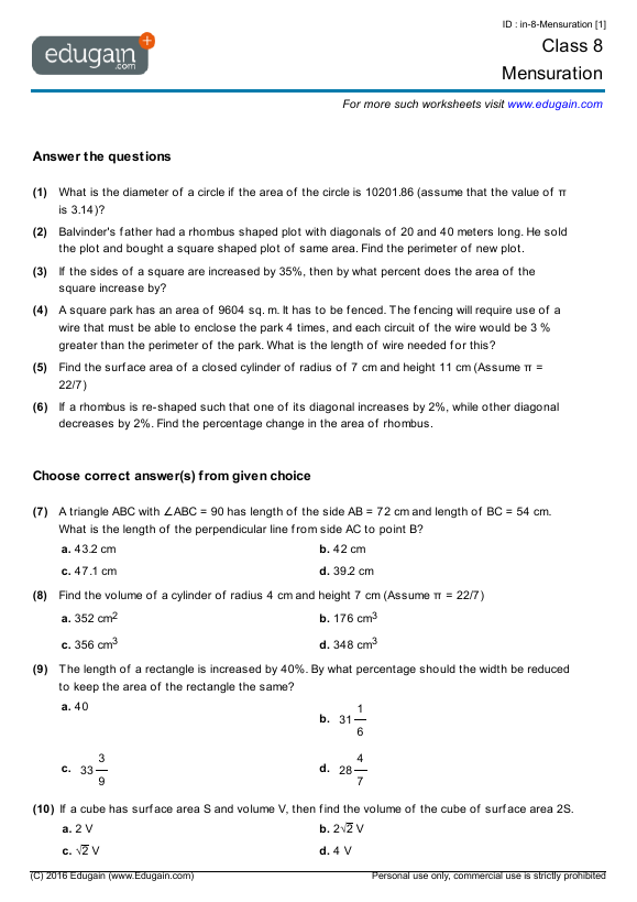 Class 8 Math Worksheets and Problems Mensuration – Area and Perimeter Worksheets Pdf