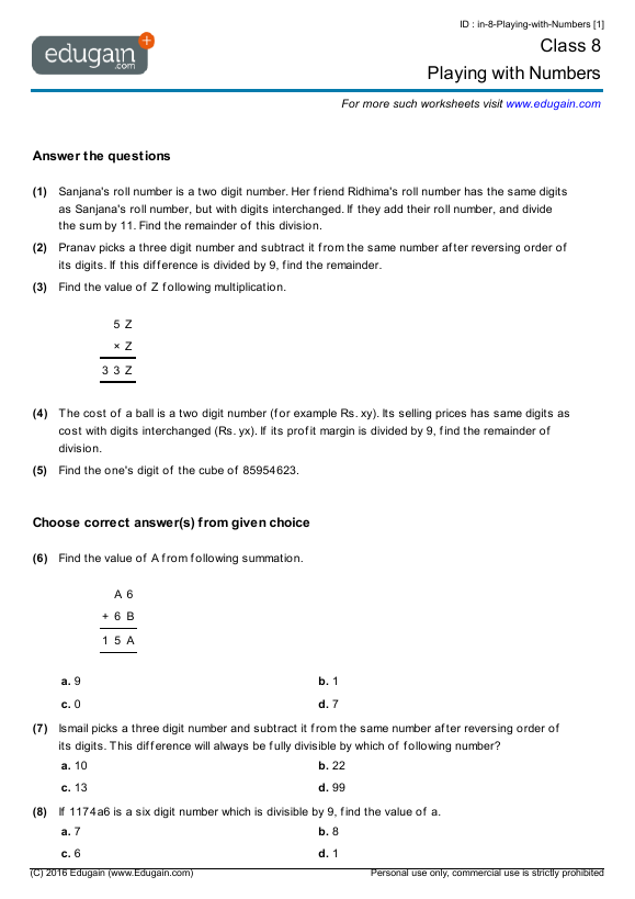 Class 8 Math Worksheets and Problems Playing with Numbers – Number 8 Worksheets