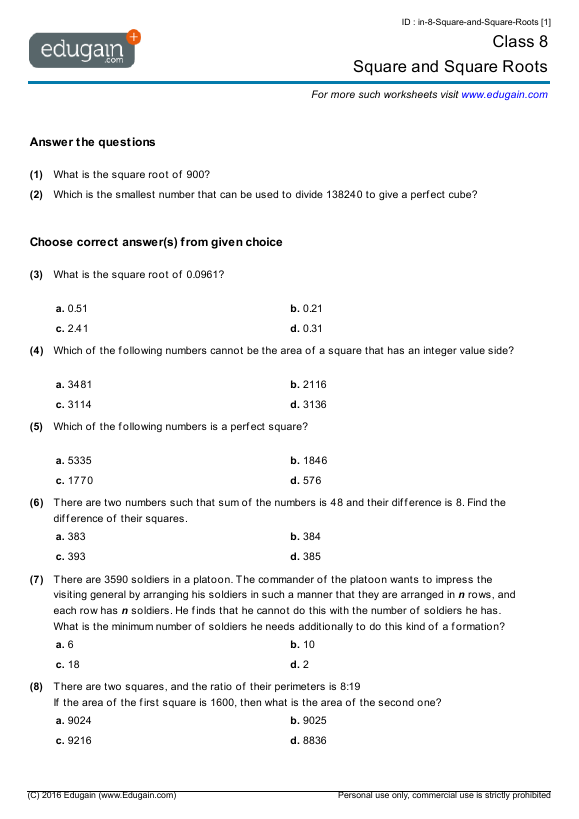 math worksheet : class 8 math worksheets and problems square and square roots  : Maths Worksheets For Grade 8 With Answers