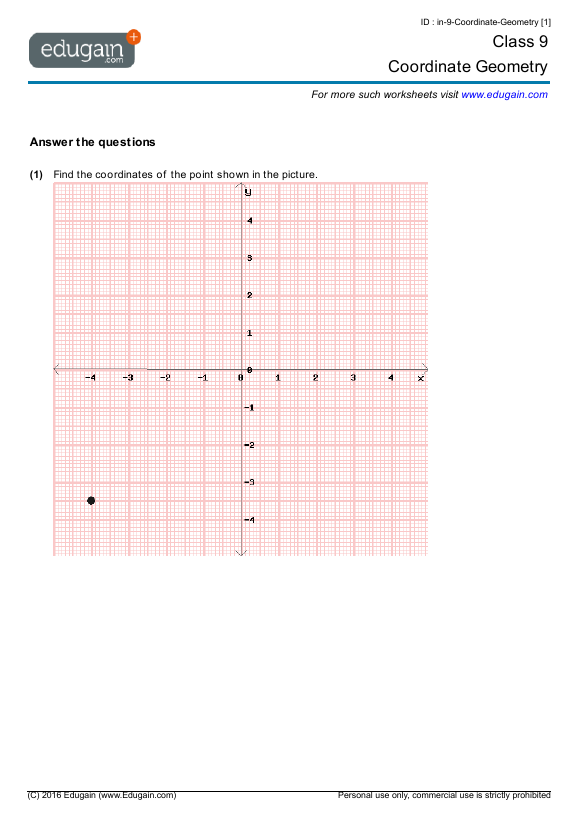 class 9 math worksheets and problems coordinate geometry edugain india. Black Bedroom Furniture Sets. Home Design Ideas