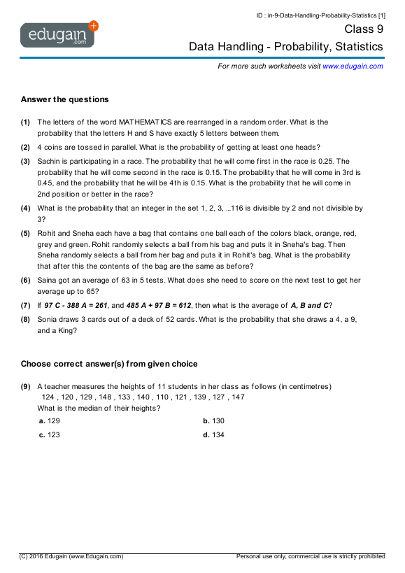 Class 9 Math Worksheets and Problems Data Handling Probability – Maths Data Handling Worksheets