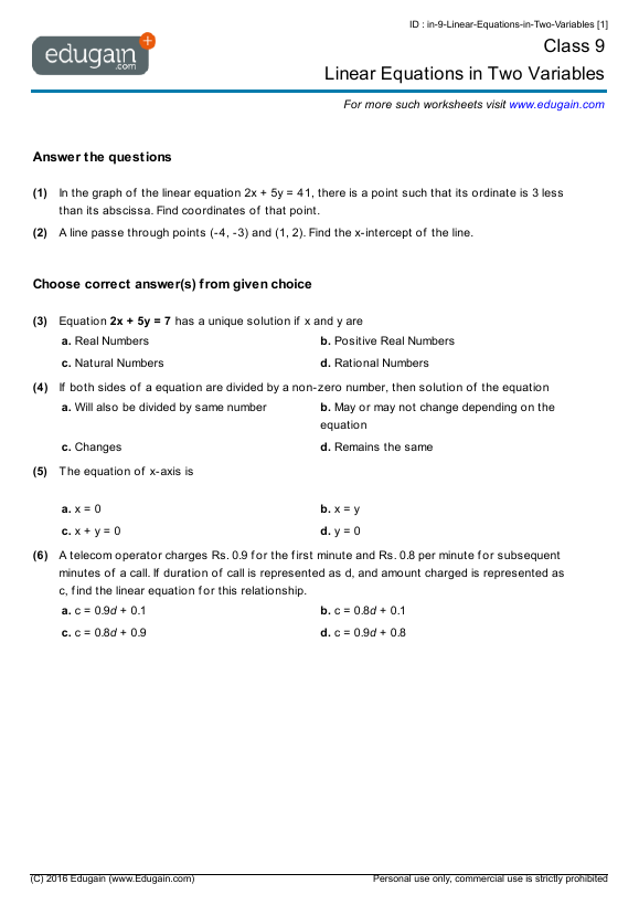 Class 9 Math Worksheets and Problems Linear Equations in Two – Variable Worksheets