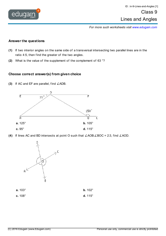 Class 9 Math Worksheets and Problems Lines and Angles – 3rd Standard Maths Worksheets