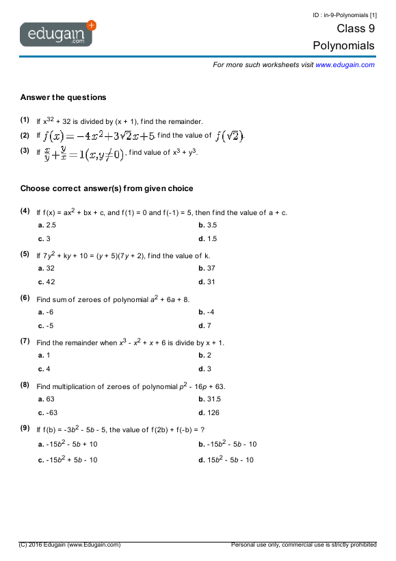 Class 9 Math Worksheets and Problems Polynomials – Polynomial Worksheet