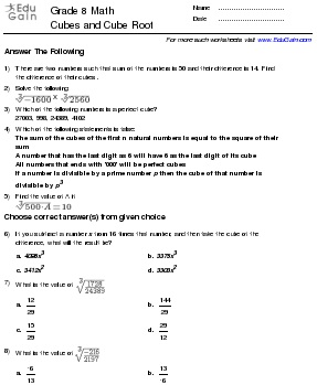 Class 8 Math Worksheets and Problems: Cubes and Cube Root : EduGain ...