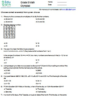 maths olympiad for class 8 pdf