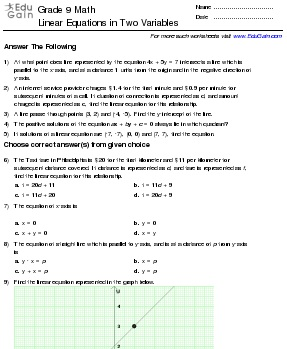 Math Worksheets and Problems: Linear Equations in Two Variables ...
